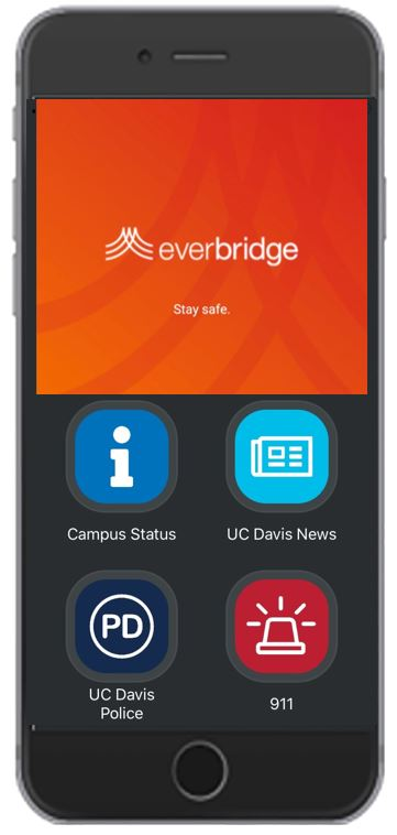 screengrab of the Everbridge app, with four buttons specialized for UC Davis.