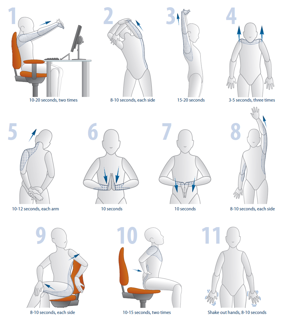 illustrations of stretches you can do in the office