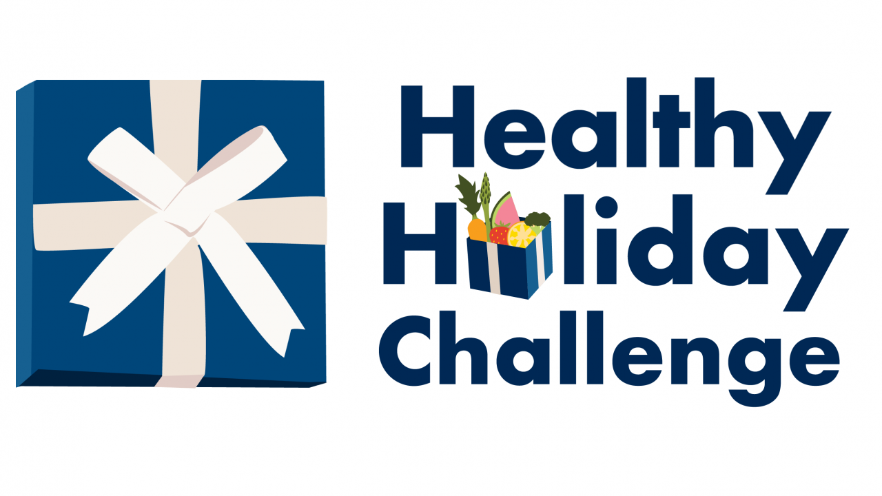 graphic logo for healthy holiday challenge