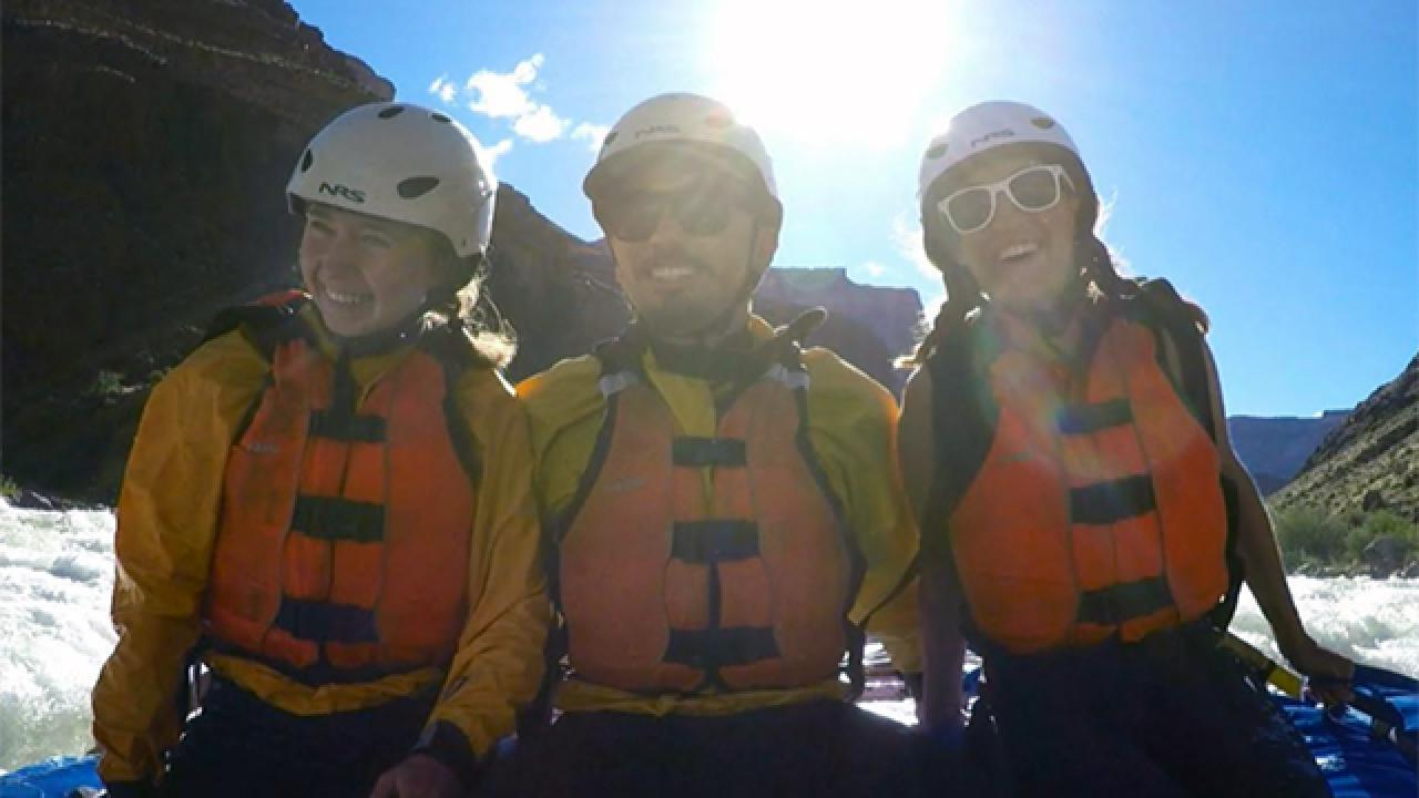 Photo of students on river raft.