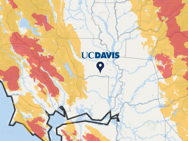 UC Davis wordmark atop our location on state map, with fire threat overlay.